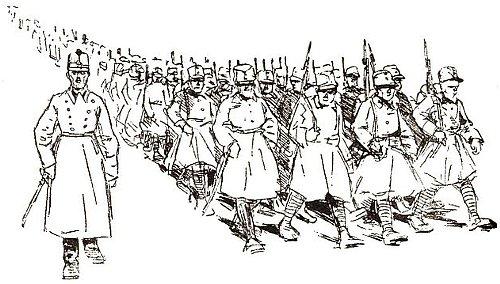 żołnierze idą na wojnę