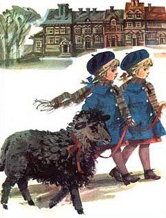 czarna owca i dziewczynki