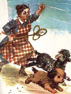 owieczka i pies uciekają przed panią