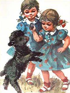 dziewczynki i owieczka