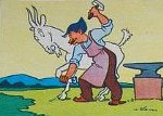 kowal podkuwa kozę
