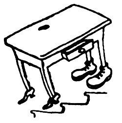 stół z butami - rysunek do wiersza