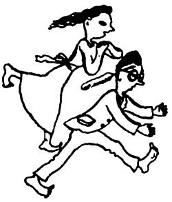 pan i pani biegną na bosaka - rysunek do wiersza