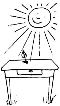 stół z liściem na blacie - rysunek do wiersza