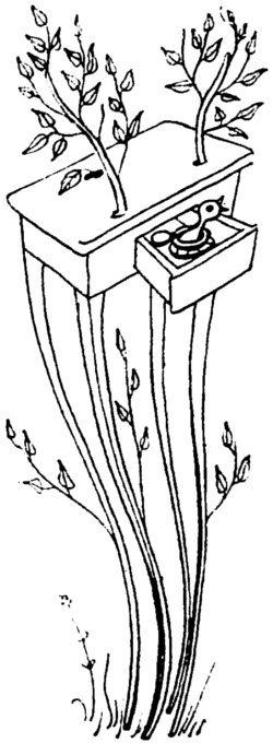 stół jako drzewo z ptasim gniazdem w szufladzie - rysunek do wiersza
